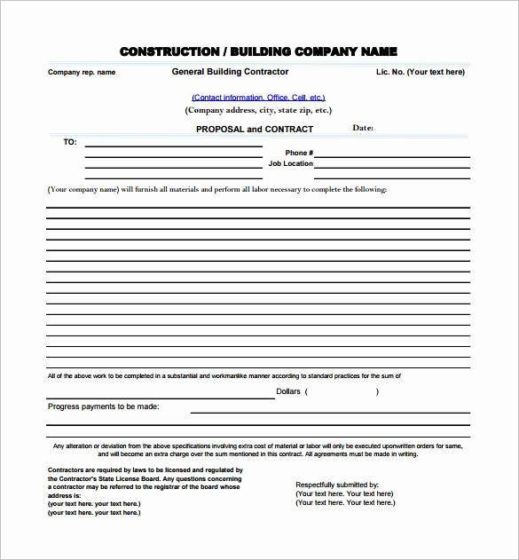 Free Construction Bid Proposal Template Luxury Construction Proposal Template