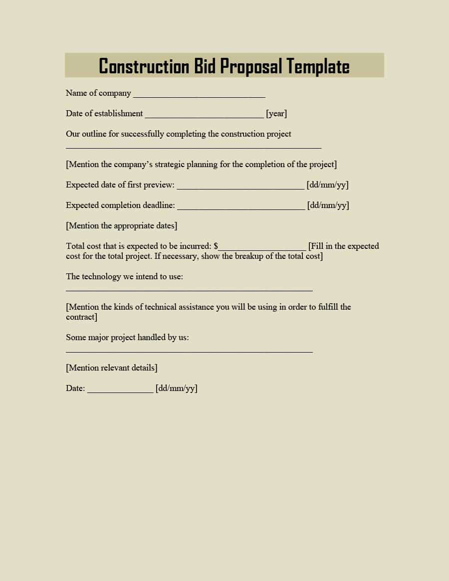 Free Construction Bid Proposal Template New 31 Construction Proposal Template & Construction Bid forms