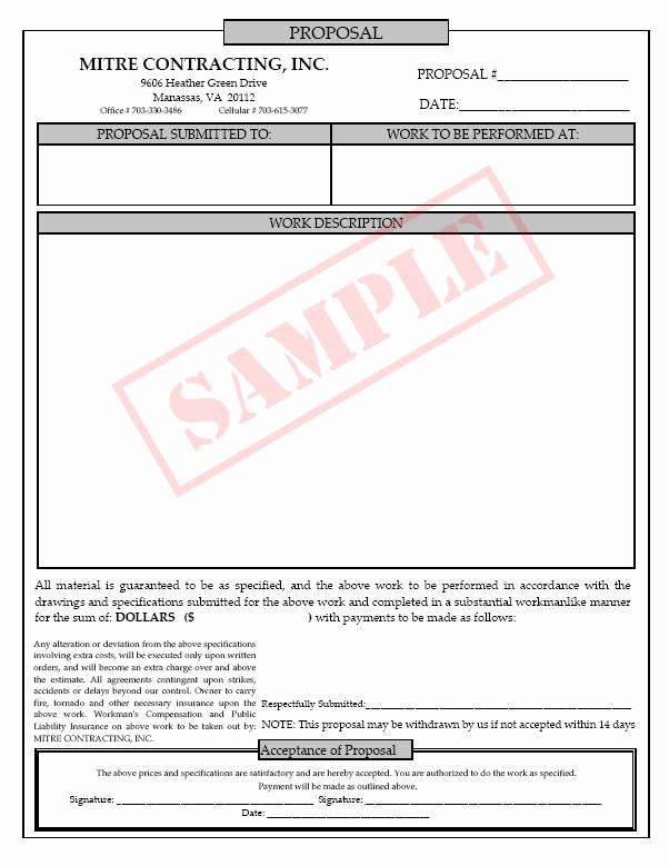 Free Construction Bid Proposal Template New Printable Blank Bid Proposal forms