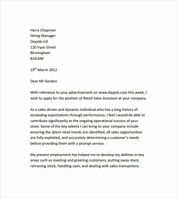 Free Cover Letter Template Download Best Of 10 Retail Cover Letter Templates to Download for Free