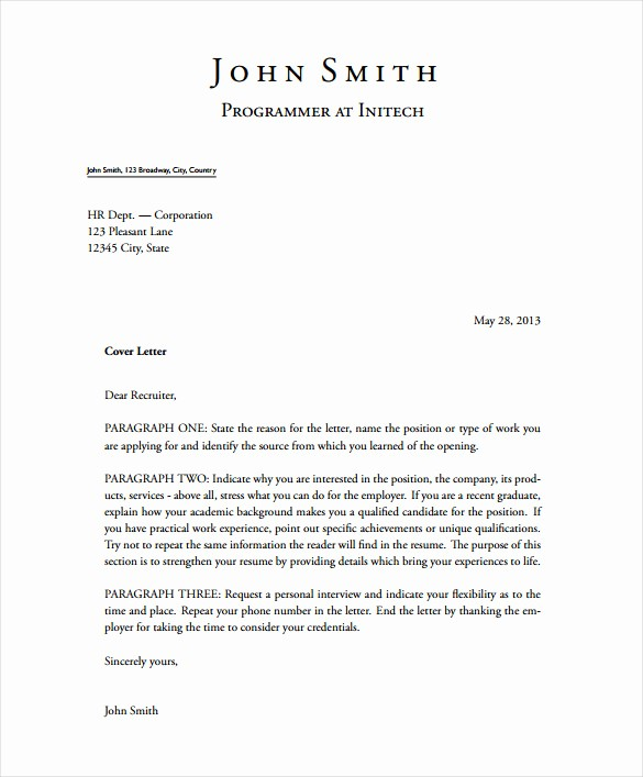 Free Cover Letter Template Download Elegant 5 Latex Cover Letter Templates Free Sample Example