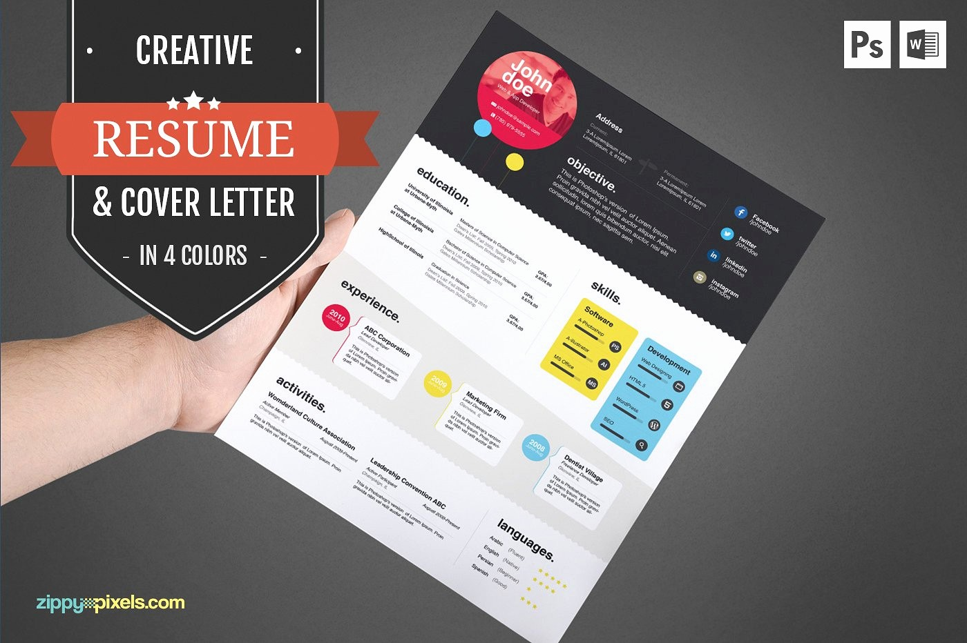 Free Creative Cover Letter Templates Awesome Creative Cv Template & Cover Letter Resume Templates