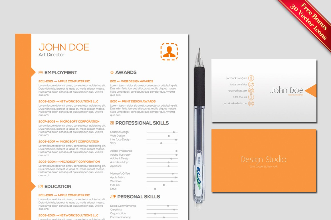Free Creative Cover Letter Templates Awesome Resume & Cover Letter Template Resume Templates On