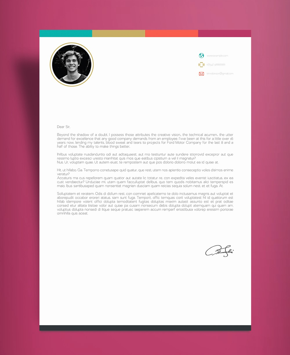 Free Creative Cover Letter Templates Fresh Free Creative Infographic Resume Template with Cover