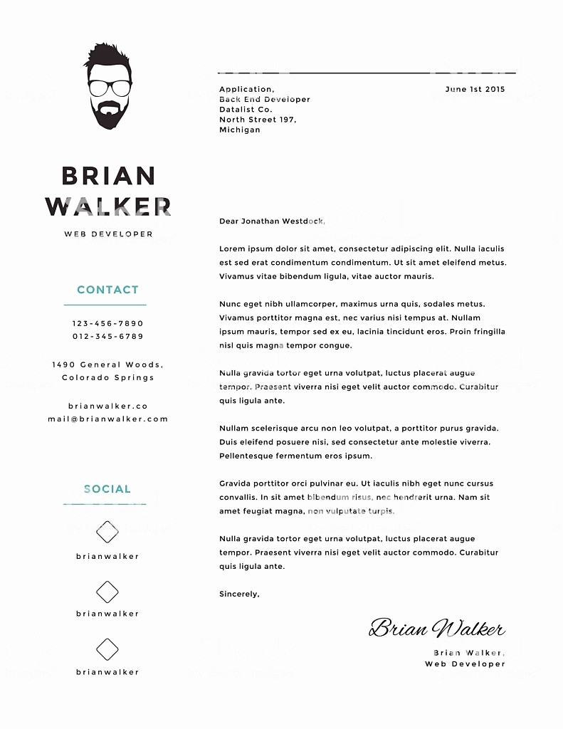 Free Creative Cover Letter Templates Inspirational Creative and Minimalistic Personal Vector Cover Letter