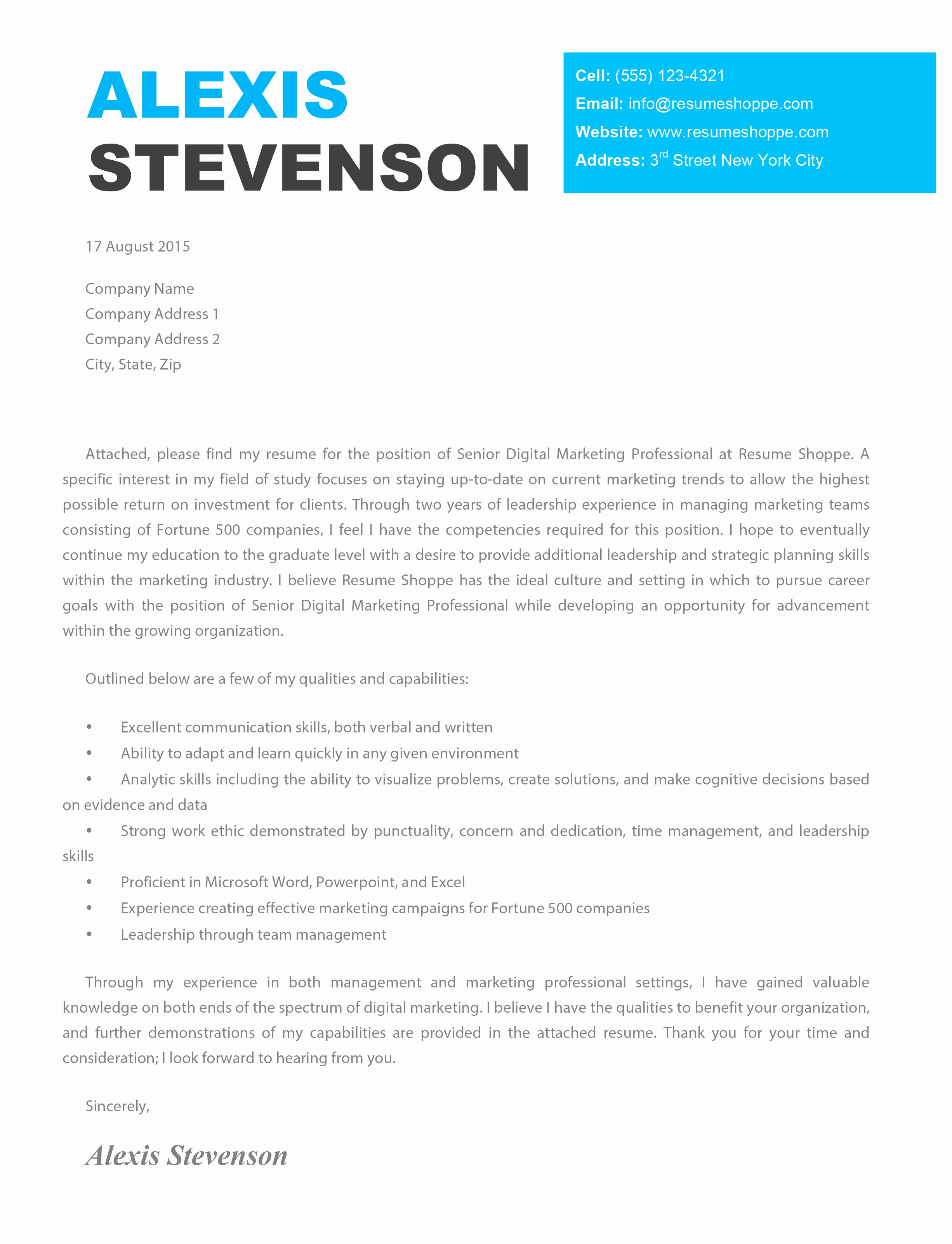 Free Creative Cover Letter Templates Inspirational the Alexis Cover Letter Creative Cover Letter