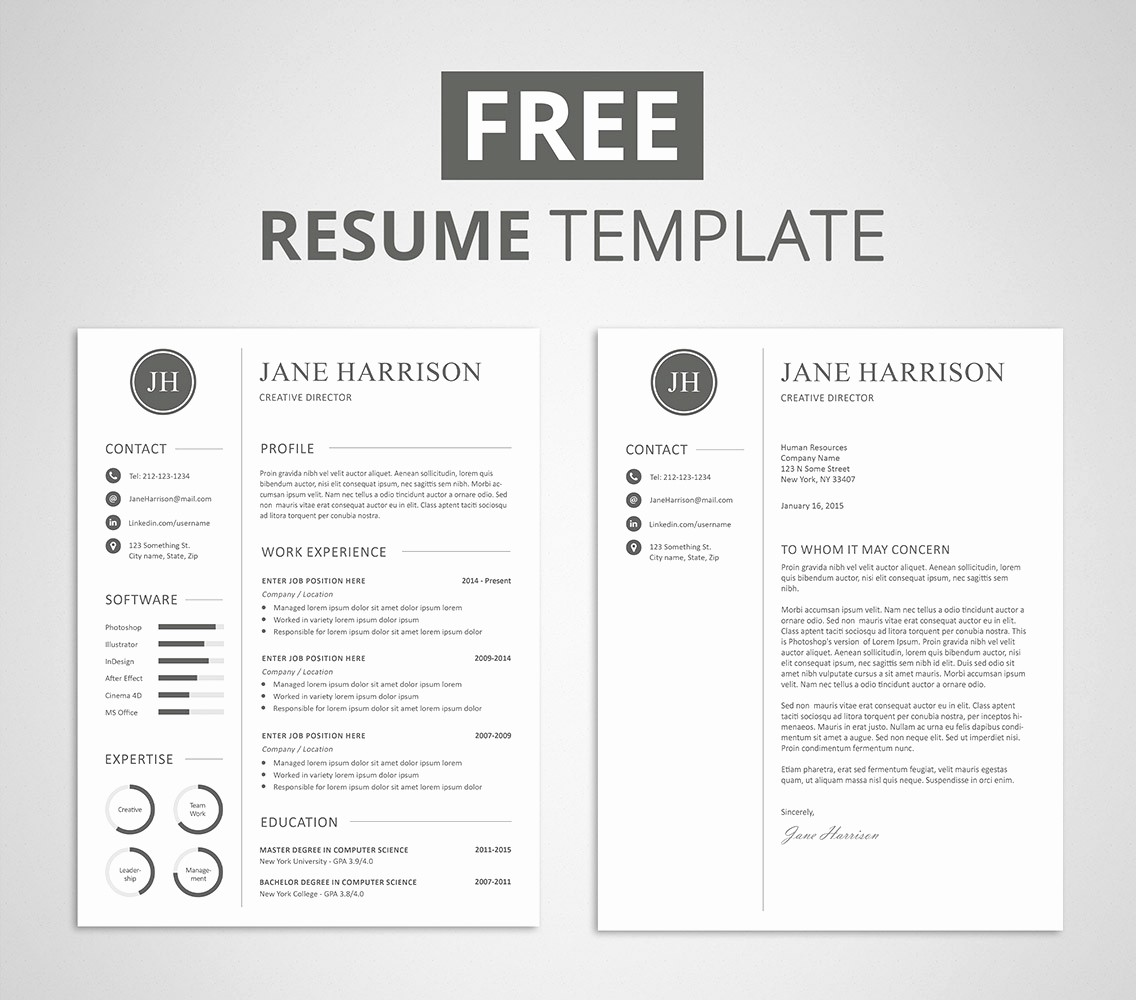 Free Creative Cover Letter Templates Lovely Free Resume Template and Cover Letter Graphicadi