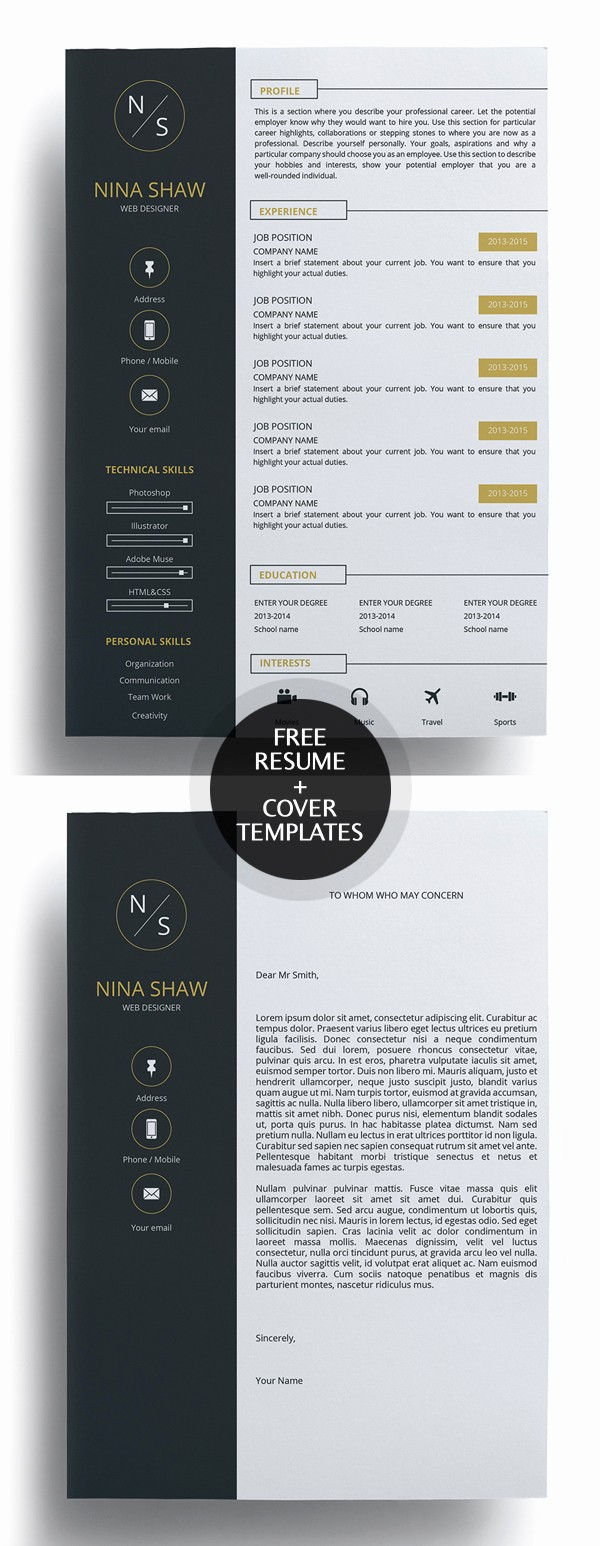 Free Creative Cover Letter Templates Luxury 23 Free Creative Resume Templates with Cover Letter