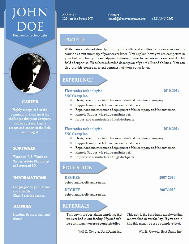 Free Curriculum Vitae Template Word Awesome Curriculum Vitae Resume Word Template 904 – 910 – Free Cv