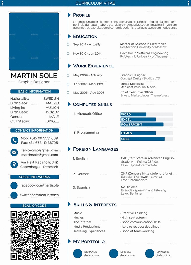 Free Curriculum Vitae Template Word Beautiful 68 Cv Templates Pdf Doc Psd Ai