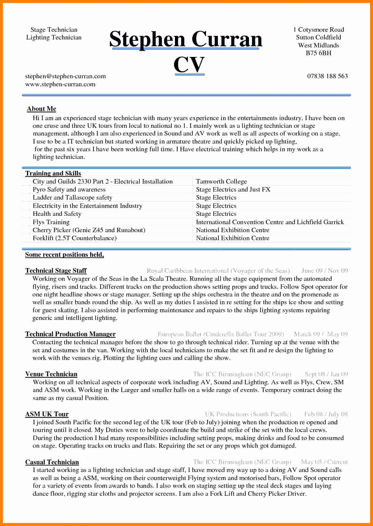 Free Curriculum Vitae Template Word Best Of 5 Cv Sample Word Document