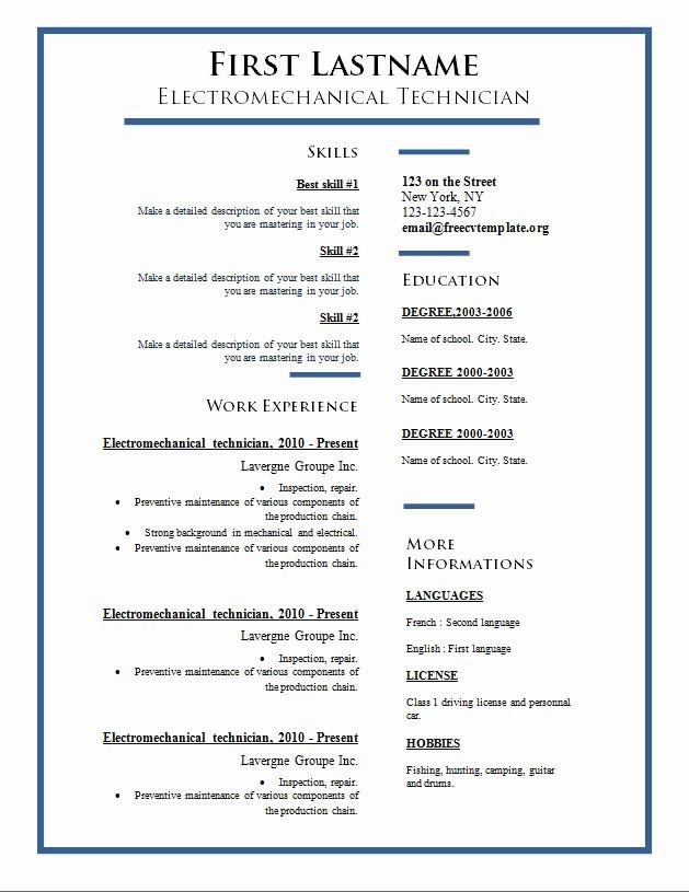 Free Curriculum Vitae Template Word Fresh Free Cv Templates 275 to 281 – Free Cv Template Dot org