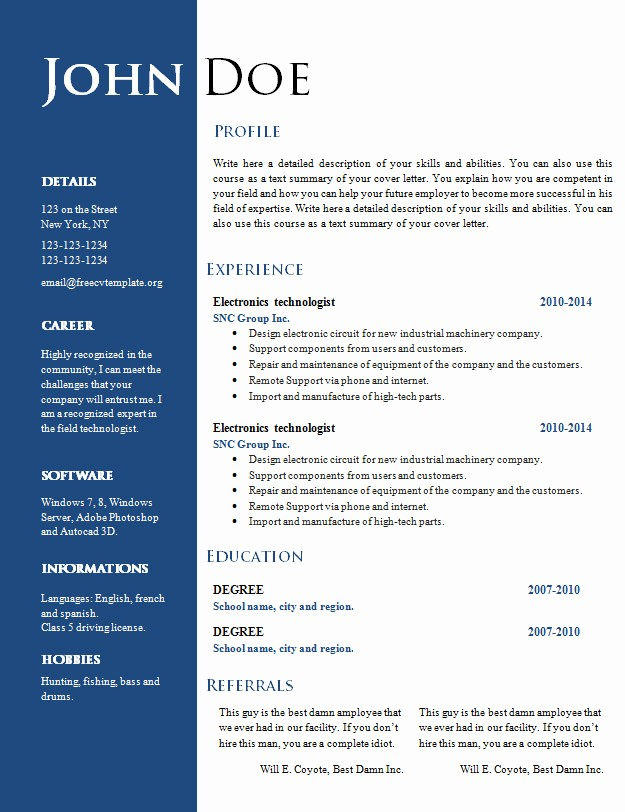 Free Curriculum Vitae Template Word New Free Creative Resume Cv Template 547 to 553 – Free Cv