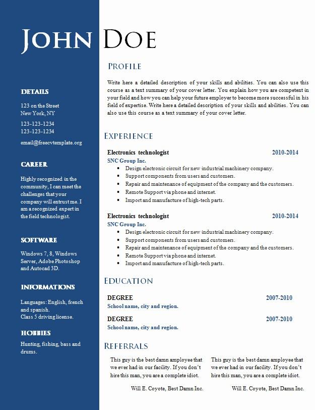 Free Curriculum Vitae Template Word New Free Creative Resume Cv Template 547 to 553 – Free Cv