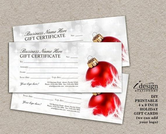 Free Customizable Printable Gift Certificates Beautiful Items Similar to Christmas Gift Certificates