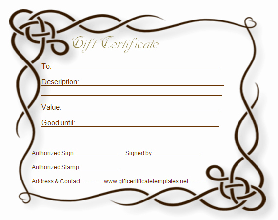 Free Customizable Printable Gift Certificates Best Of formal T Certificate Template