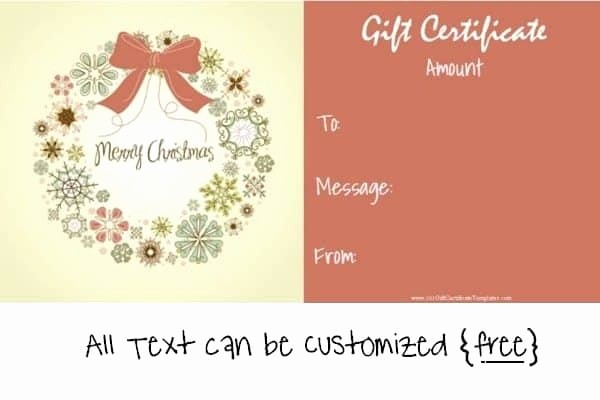 Free Customizable Printable Gift Certificates Best Of Free Editable Christmas Gift Certificate Template