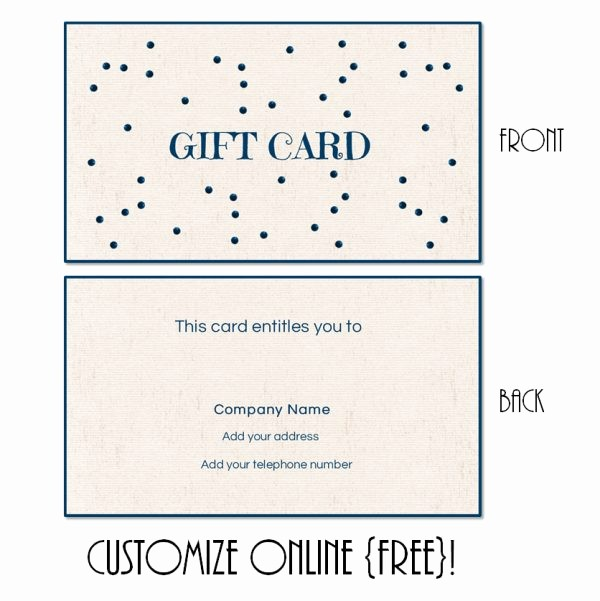 Free Customizable Printable Gift Certificates Elegant Gift Card Template