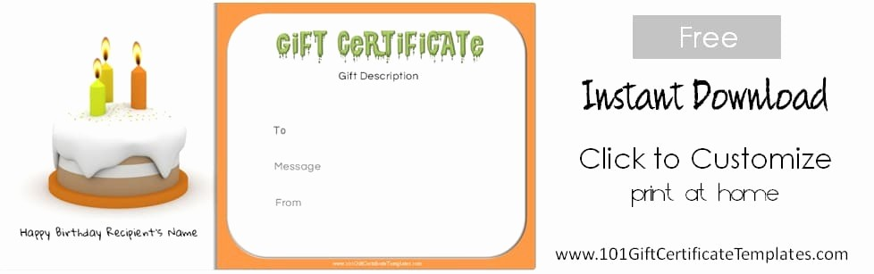 Free Customizable Printable Gift Certificates Fresh Free Birthday Gift Certificate Template