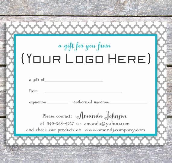 Free Customizable Printable Gift Certificates Fresh Personalized Gift Certificate Printable Digital Blue