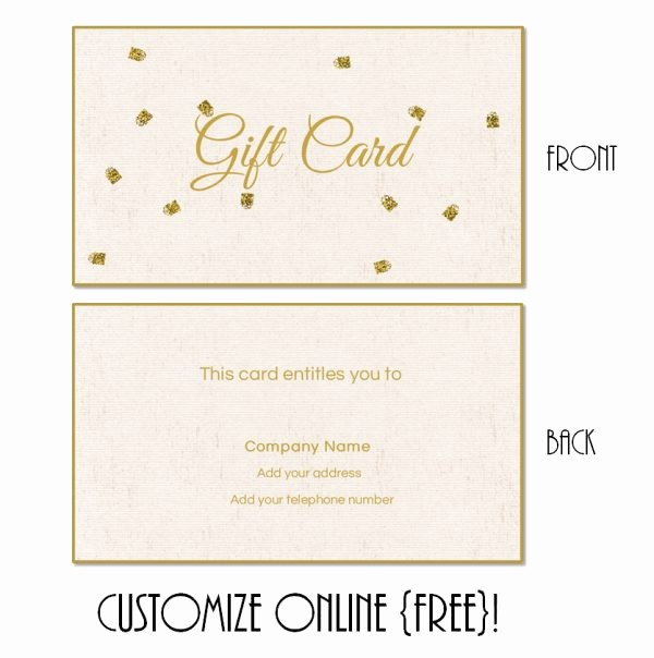 Free Customizable Printable Gift Certificates Inspirational Gift Card Template
