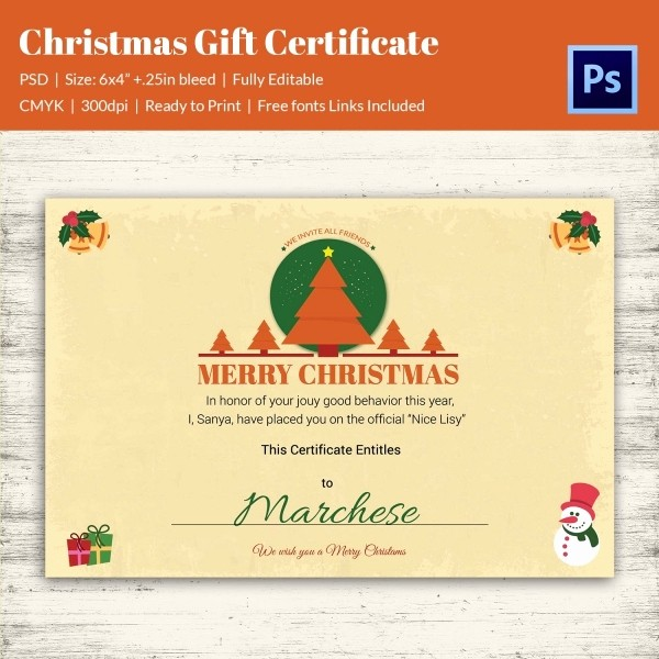 Free Customizable Printable Gift Certificates Luxury Christmas Gift Certificate Templates 21 Psd format