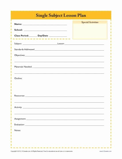 Free Daily Lesson Plan Template Awesome Daily Single Subject Lesson Plan Template Secondary