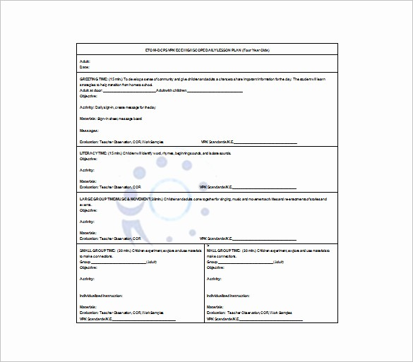 Free Daily Lesson Plan Template Fresh Daily Lesson Plan Template 9 Free Word Excel Pdf