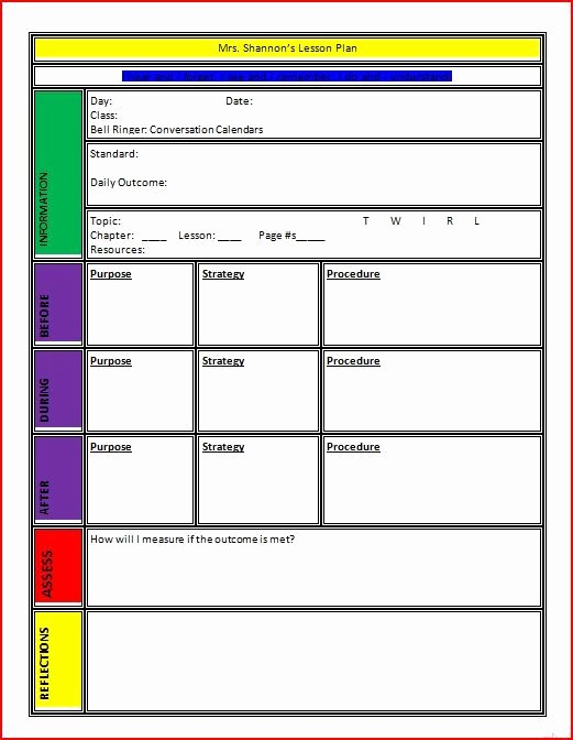 Free Daily Lesson Plan Template Lovely Plan Templates