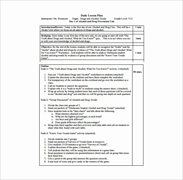 Free Daily Lesson Plan Template New Daily Lesson Plan Template 14 Free Pdf Word format