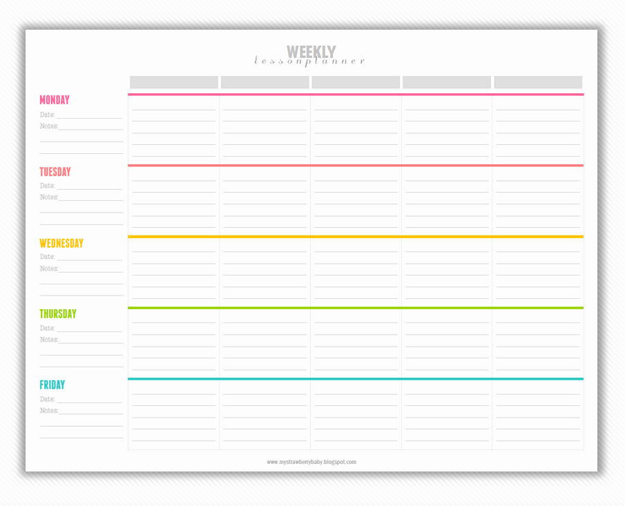 Free Daily Lesson Plan Template New My Strawberry Baby Free Printable Weekly Lesson Plan