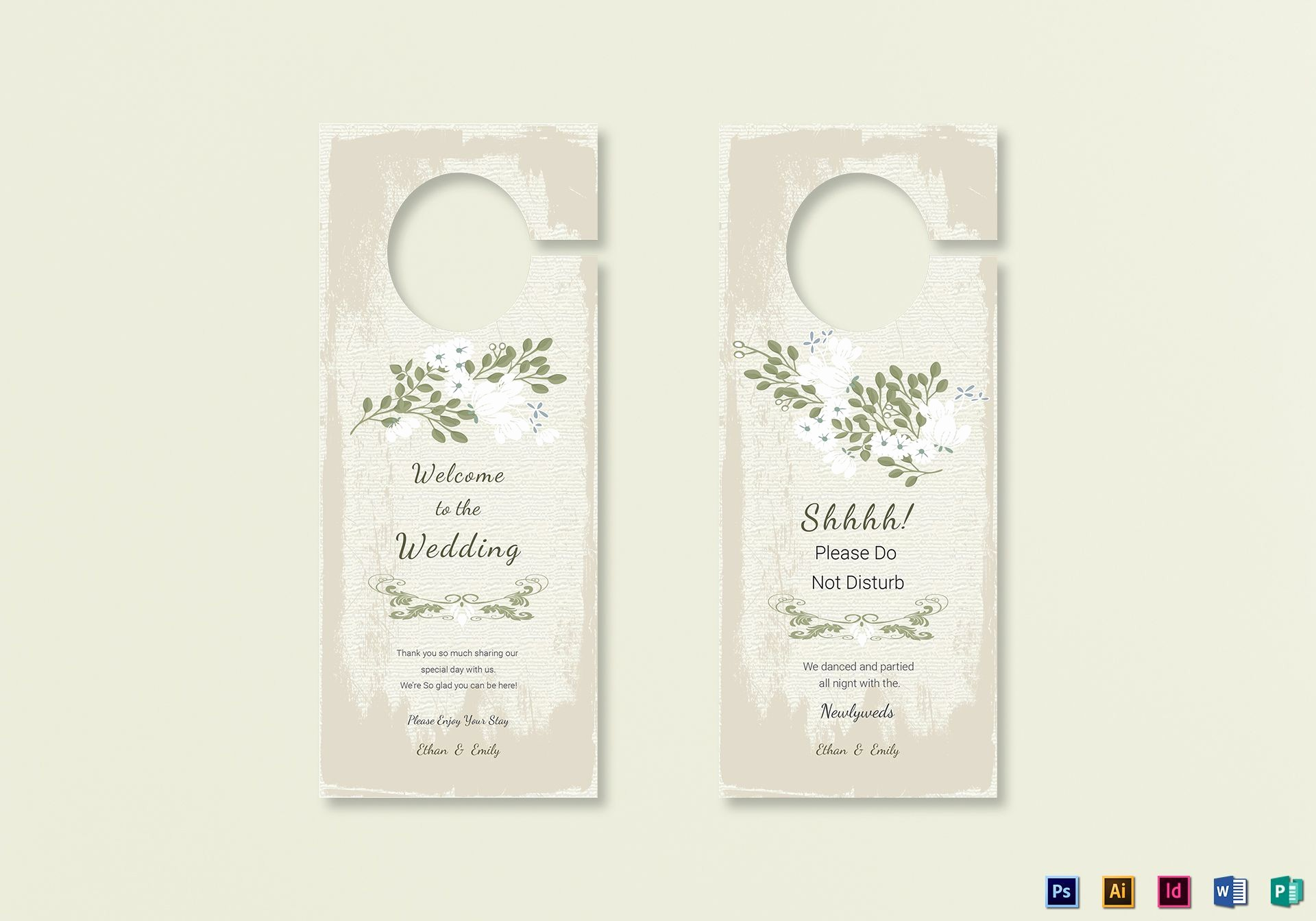 Free Door Hanger Template Word Elegant Vintage Wedding Door Hanger Template In Psd Word
