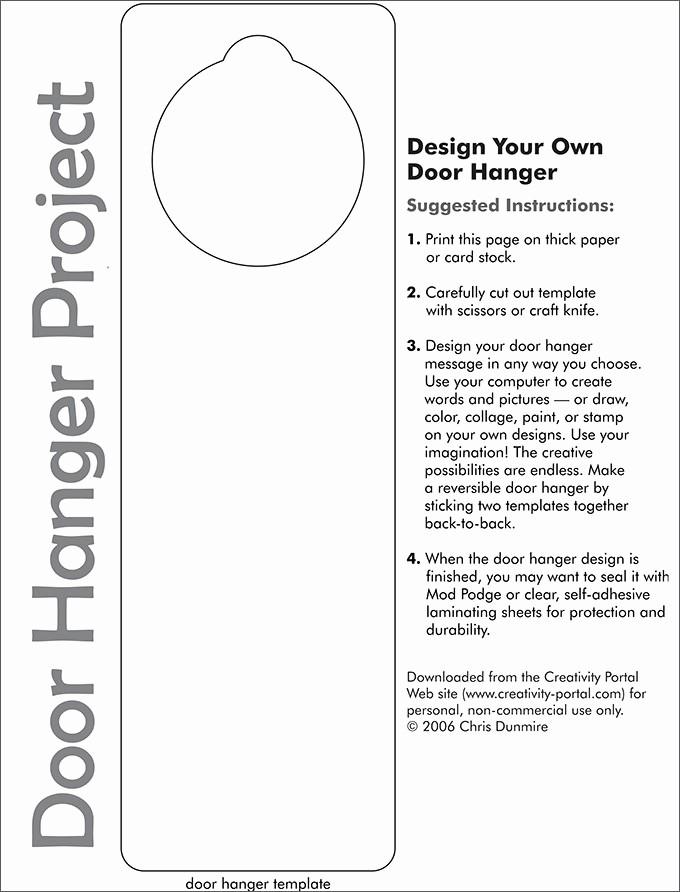 Free Door Hanger Template Word Luxury Door Knob Hanger Template Pdf Templates Resume