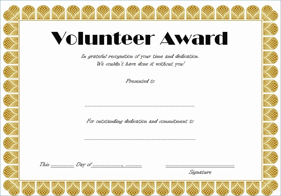Free Download Award Certificate Templates Lovely Download Volunteer Recognition Certificate Template – Free