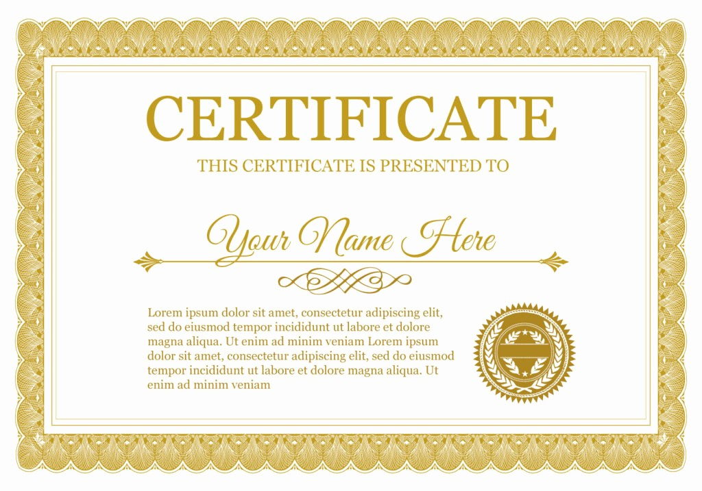 Free Download Award Certificate Templates Luxury Certificate Of Pletion Template Psds