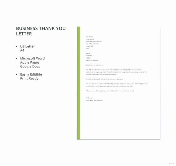 Free Download Business Letter Template Unique 8 Business Thank You Notes Free Sample Example format
