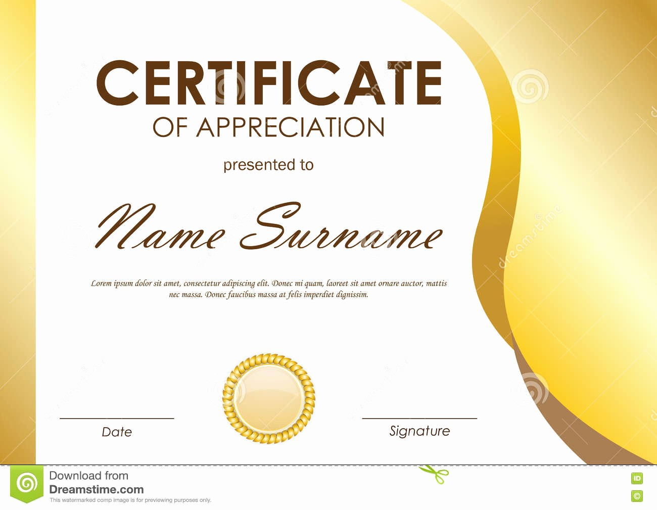 stock illustration certificate appreciation template gold wavy curved light background seal vector illustration image