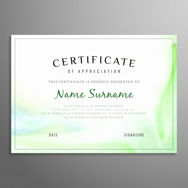 Free Download Certificate Of Appreciation Beautiful Green Certificate Of Appreciation Template Vector