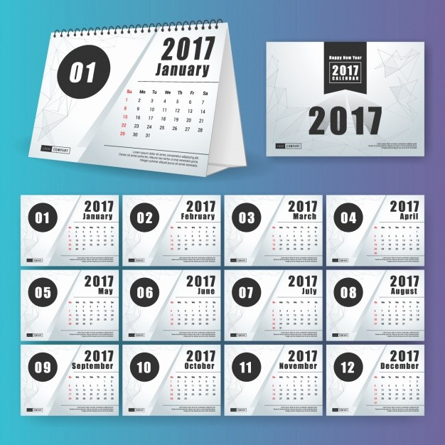 Free Download Of 2017 Calendar Awesome 2017 Calendar Design Vector