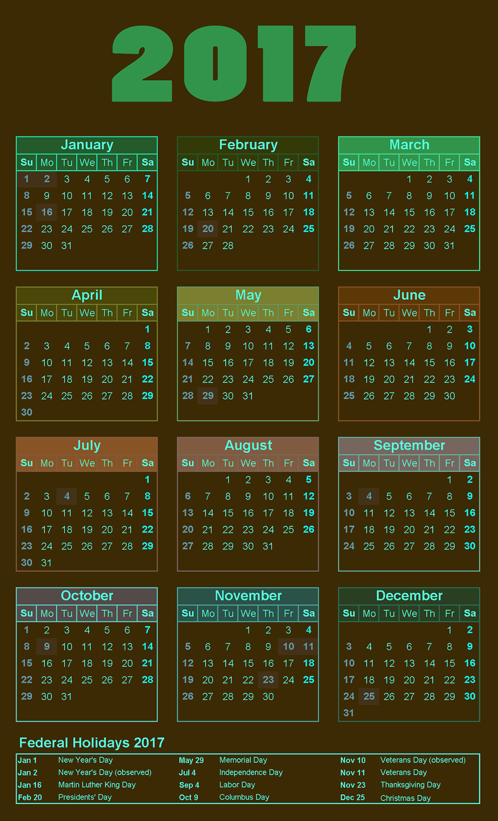 Free Download Of 2017 Calendar Awesome Printable
