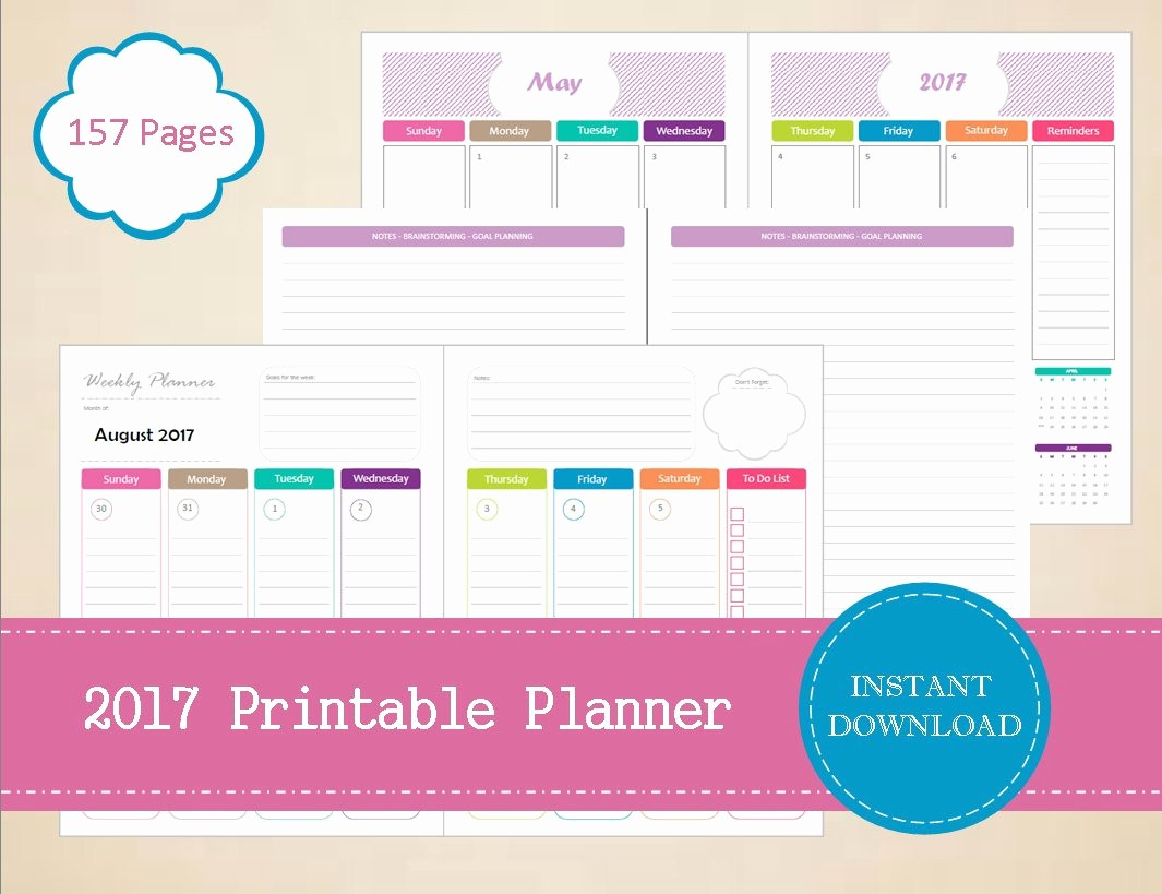 Free Download Of 2017 Calendar Beautiful 2017 Printable Planner Half Page 2017 Weekly Planner 2017