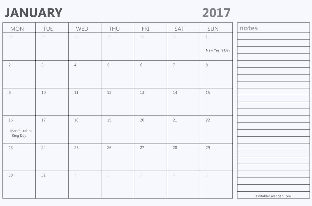 Free Download Of 2017 Calendar Beautiful Printable