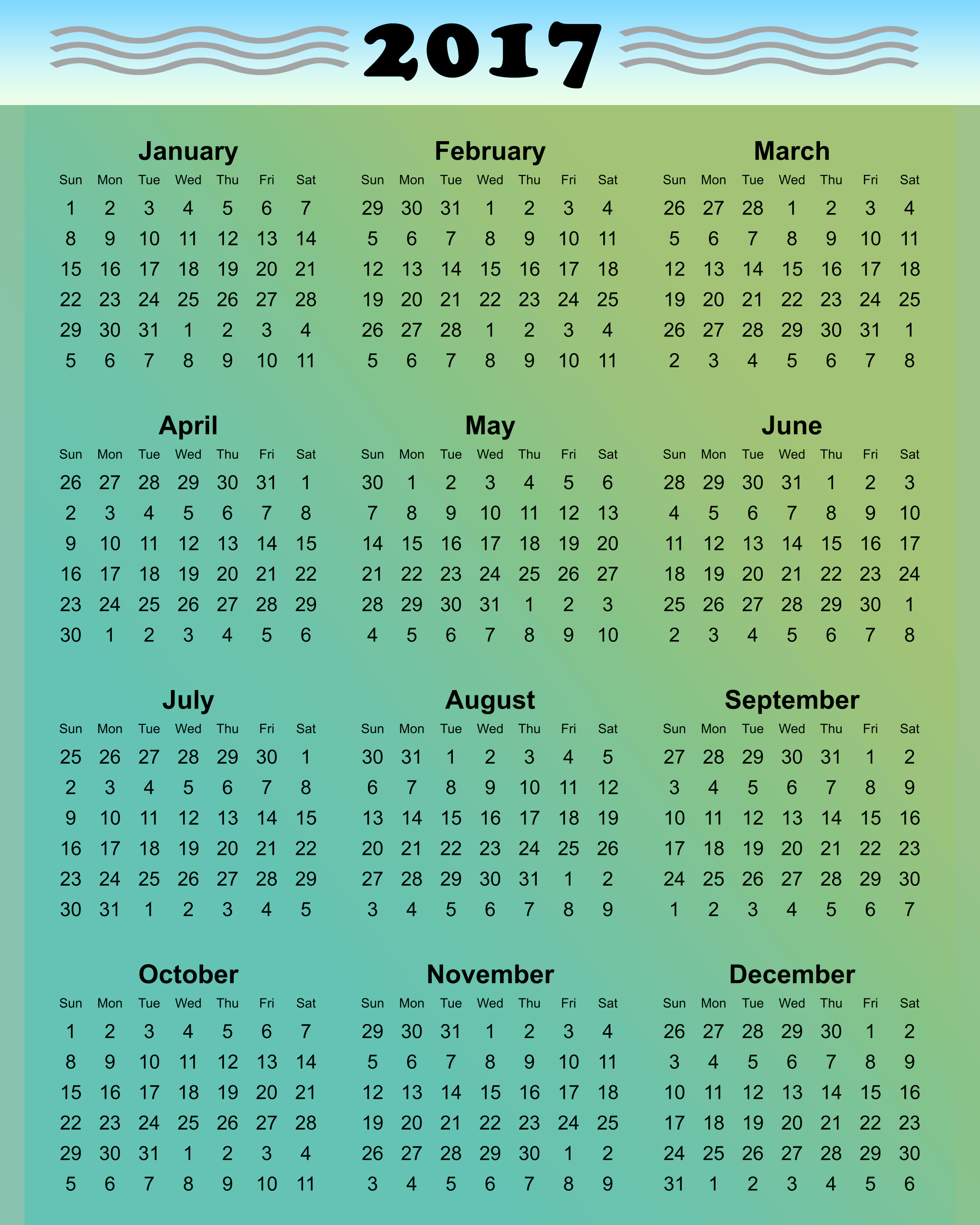 Free Download Of 2017 Calendar Best Of Printable 2017 Calendars