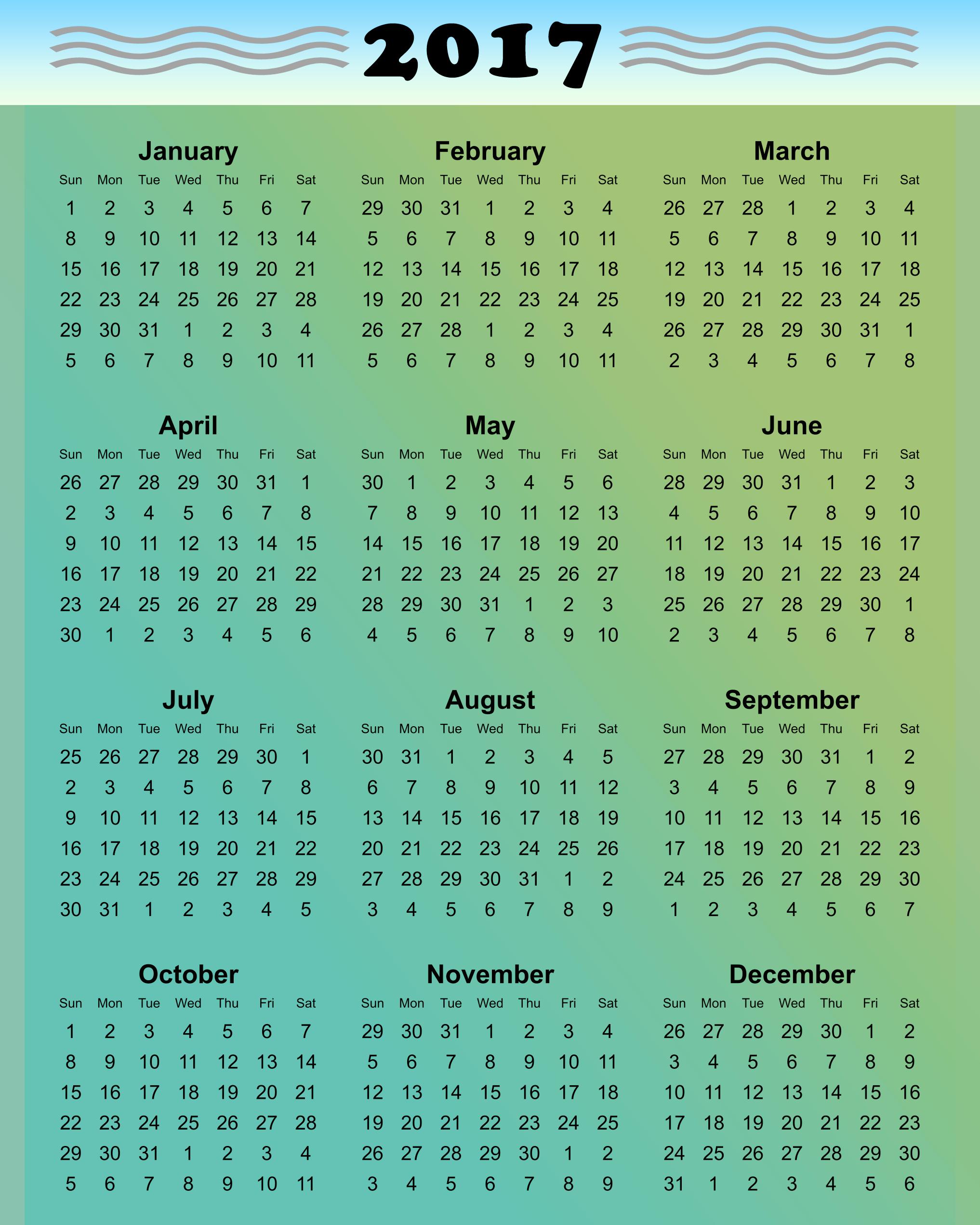 Free Download Of 2017 Calendar Best Of Printable 2017 Calendars