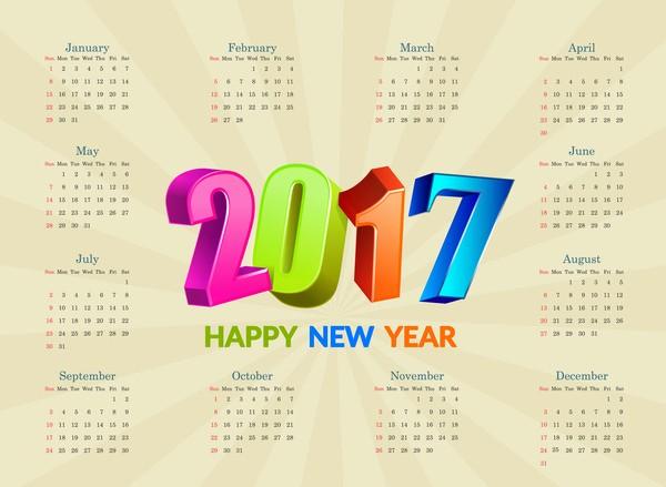 Free Download Of 2017 Calendar Elegant Calendar 2017 Free Vector 1 536 Free Vector for