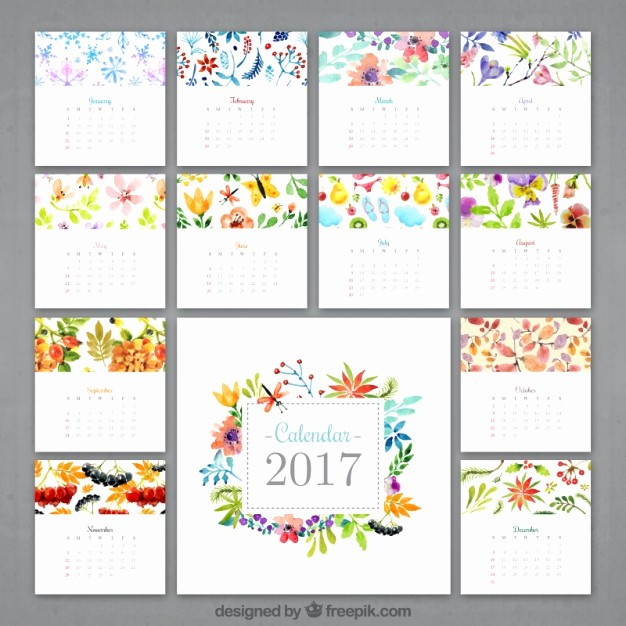 Free Download Of 2017 Calendar Lovely Watercolor Flowery Calendar 2017 Vector