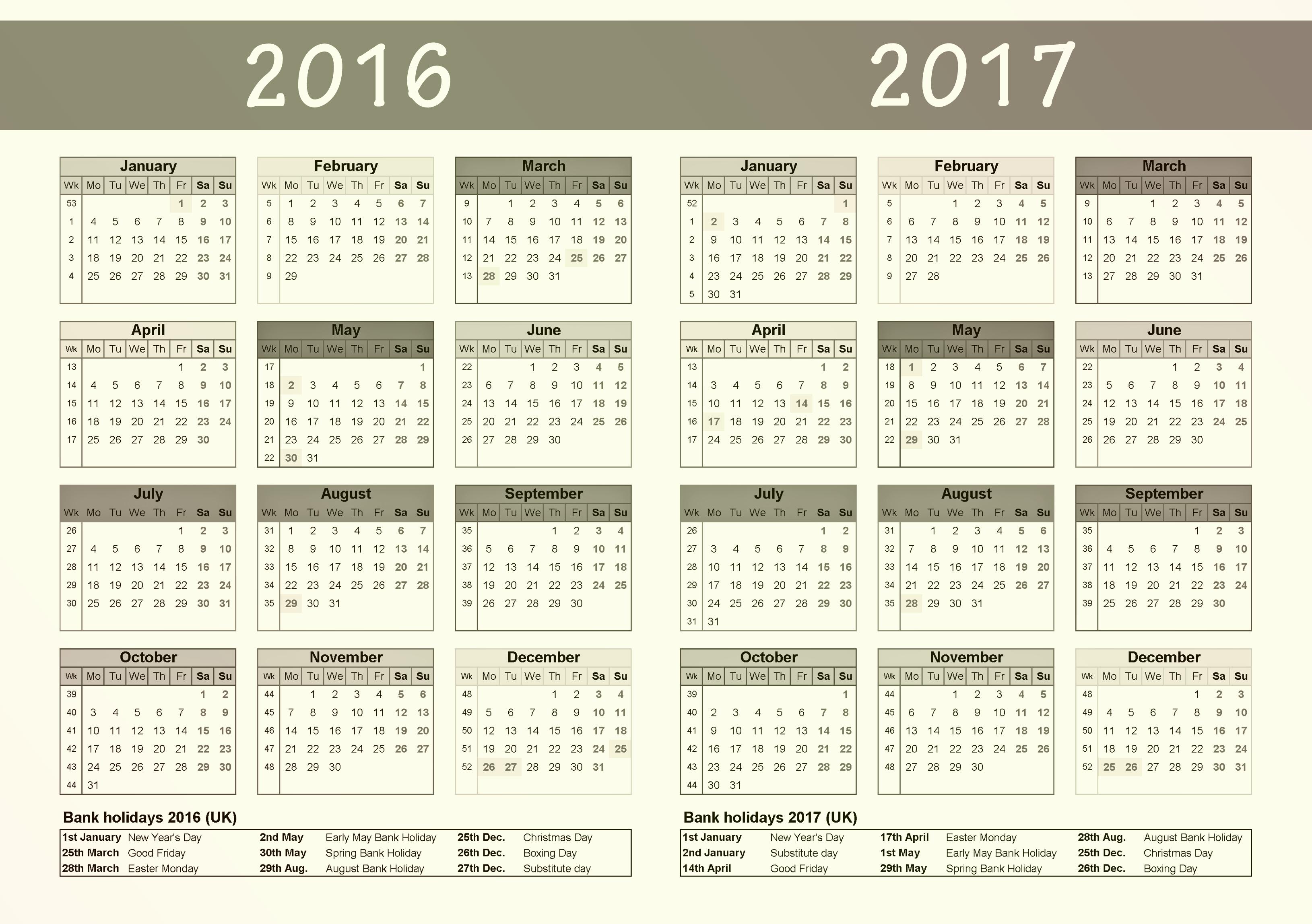 Free Download Of 2017 Calendar Luxury 2016 2017 Calendar