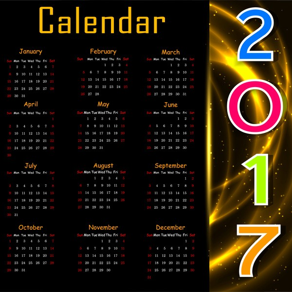 Free Download Of 2017 Calendar New 2017 Calendar Design On Black Background Free Vector In
