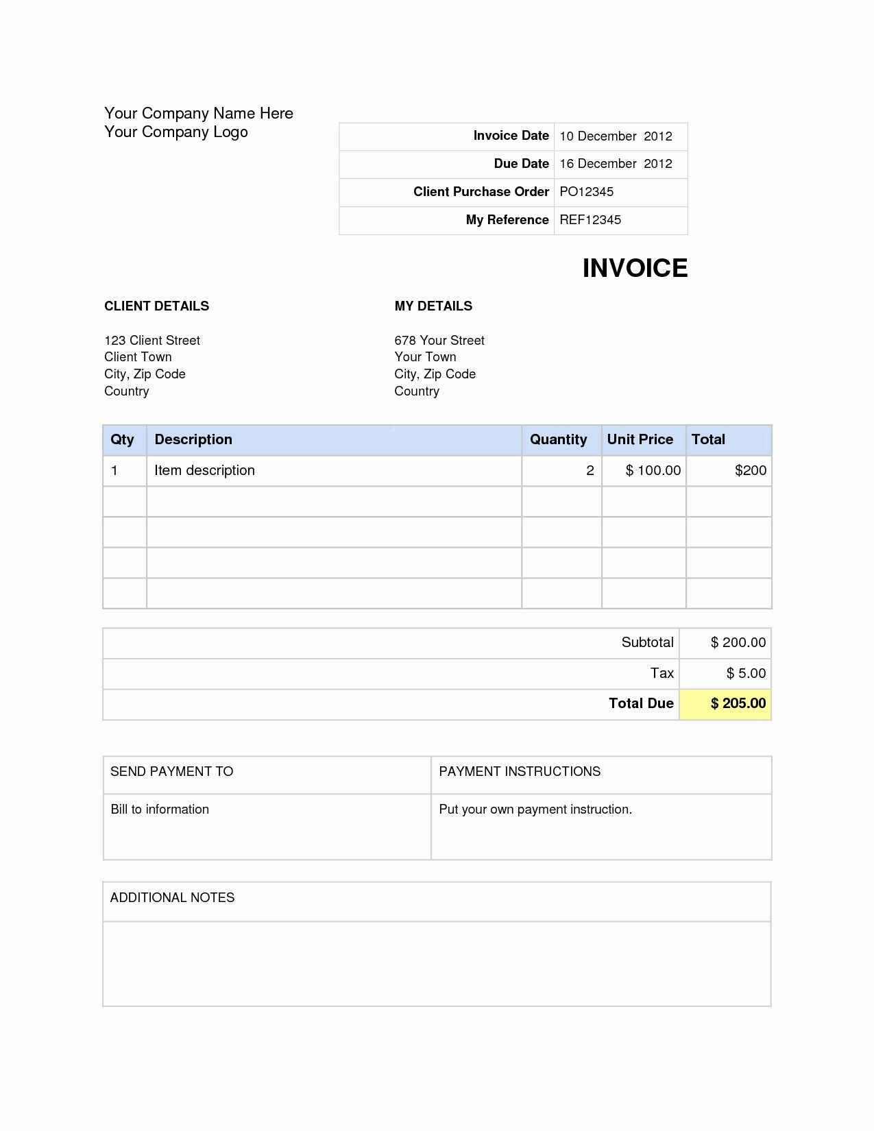 Free Download Templates for Word Lovely Download Invoice Template Word 2007