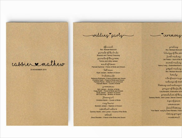 Free Download Wedding Program Template Awesome Wedding Program Template 41 Free Word Pdf Psd